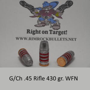 g/ch .45 rifle 430 gr. LBT-WFN per 50 in plastic ammo box